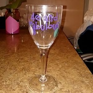 "Monogrammed ""40 & Fabulous"" wine glass"
